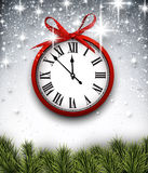 New year clock with starry background. Stock Photography