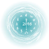 New year clock with symbols of the new year. Vector illustration Stock Photography