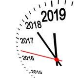 New year 2019 clock. Three dimensional clock showing New Year 2019 at 12 o'clock royalty free illustration