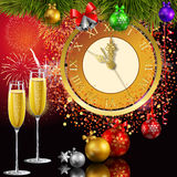 New Year clock. Time for the new year. 5 minutes to the new year. Met the new year with champagne. Christmas chimes Royalty Free Stock Images
