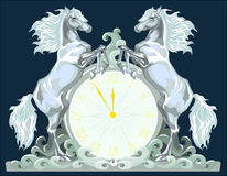 New Year clock with two horses, 5 minutes to 12. Royalty Free Stock Images
