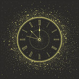 New Year Clock. Vector 2015 Happy New Year background with gold clock stock illustration