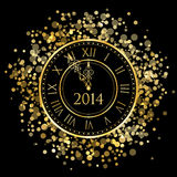 2014 - New Year Clock. 2014 - Vector shiny New Year Clock Royalty Free Stock Image