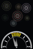 New year clock w-fireworks. Vector illustration of a clock about to strike midnight with star composed fireworks in the night sky celebrating the 2010 new year Royalty Free Stock Images