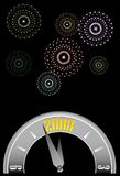 New year clock w-fireworks. Vector illustration of a clock about to strike midnight with star composed fireworks in the night sky celebrating the 2008 new year Royalty Free Stock Image