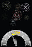 New year clock w-fireworks Stock Images