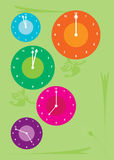 New Year Clocks Card Template. Colorful clocks showing different times as a concept for New Year greeting card template, suitable for any year Royalty Free Stock Image