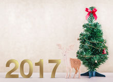 New year,Closeup on golden 2017. Decorated christmas and New year decoration,Closeup on golden 2017 Stock Photos