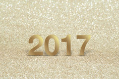 New year,Closeup on golden 2017. Gold Background Stock Images