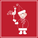 New Year of the Cock. Illustration of Santa Claus with the Cock on the red background Royalty Free Stock Photography