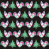 New year cock. Seamless pattern of roosters Christmas fir-trees. Fashionable texture winter print fabric Stock Images
