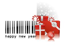 New Year code bar. Bar code with congratulations and red gifts vector draw on white background. Happy holydays vector illustration
