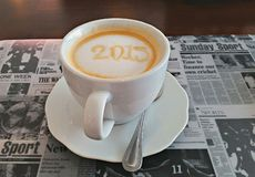 New Year Coffee. My first Coffee in 2015 Royalty Free Stock Image