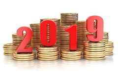 2019 New year on coins stack. Busines success, prosperity and w. 2019 New year on coins stack. Business success, prosperity and wallfare in new year concept. 3d royalty free illustration