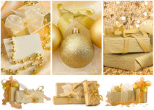 New year collage. With beautiful golden decorative elements stock images