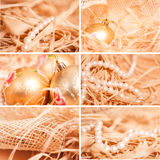 New year collage of different backgrounds with strow in gold royalty free stock photos