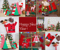 New Year collage with handmade decorations. Collage with details of festive decorated interior with handmade elements Stock Photo