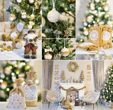 New Year Collage With Handmade Decorations Royalty Free Stock Image
