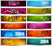 New year 2014 collection for colorful headers and  Royalty Free Stock Photo