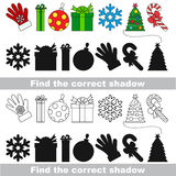 New year collection. Find correct shadow. Royalty Free Stock Images