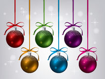 New year collection of hanging xmas balls, vector  Stock Photos