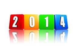 New year 2014 in color cubes stock illustration