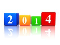 New year 2014 in color cubes. New year 2014 in 3d colored cubes with white ciphers Stock Photos