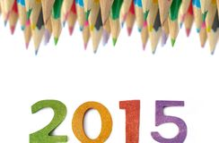 New year with color pencils Royalty Free Stock Photo