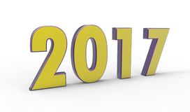New year 2017. Color with white background Stock Photography