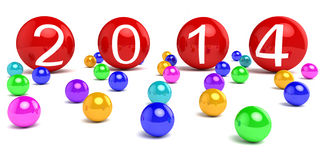 New Year 2014. On colored areas Vector Illustration