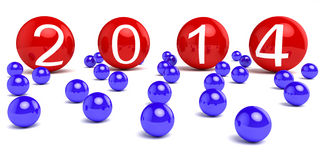 New Year 2014. On colored areas Stock Image