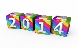 New Year 2014 colored cubes. 3d render New Year 2014 colored cubes (isolated on white and clipping path Stock Image