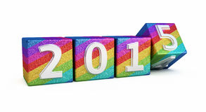 New Year 2015. Colored cubes ( on white and clipping path Stock Photography
