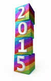 New Year 2015. Colored cubes ( on white and clipping path Stock Images