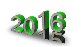 New Year 2016 - colored 3D numbers on a white background. New Year 2016 - green, gold, gray 3D numbers on a white background Stock Photography