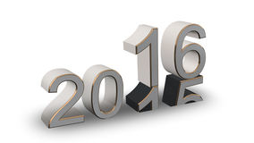 New Year 2016 - colored 3D numbers on a white background. New Year 2016 - light gray, gold 3D numbers on a white background Stock Photo