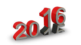 New Year 2016 - colored 3D numbers on a white background. New Year 2016 - red, gold, gray 3D numbers on a white background stock illustration