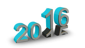 New Year 2016 - colored 3D numbers on a white background. New Year 2016 - turquoise, gold, gray 3D numbers on a white background Royalty Free Illustration