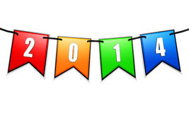 New year 2014 on colored flags on cord. New year 2014 on 3d colored flags on a rope isolated over white background stock illustration