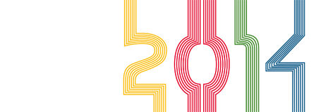 NEW YEAR 2014. – colored lines Royalty Free Stock Photo