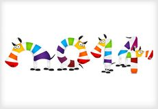 New year colored zebra horses. Vector. Illustration Stock Photography