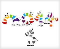 New year colored zebra horses. Vector. Illustration Royalty Free Stock Photography