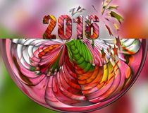 New year 2016. In a colorful abstract design royalty free illustration