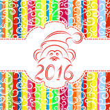 New Year colorful background with monkey symbol. Vector holiday illustration stock illustration
