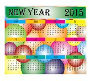 New Year 2015 Colorful Ball Calendar Stock Photo