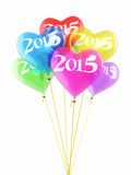 New year 2015 Colorful Ballons. Render (isolated on white and clipping path Stock Photo