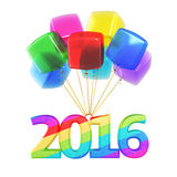 New year 2016 Colorful balloons. 3d render Colorful cubes Balloons New Year 2016 (isolated on white and clipping path Stock Image