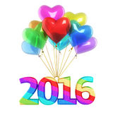 New year 2016 Colorful balloons. 3d render Colorful heart Balloons New Year 2016 (isolated on white and clipping path Stock Photography