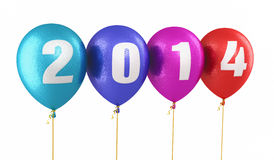 New Year 2014. And colorful balloons (isolated on white and clipping path Stock Photo