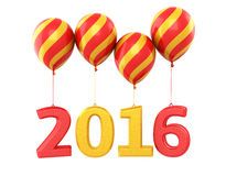 New Year 2016. And colorful balloons render isolated on white Stock Photo